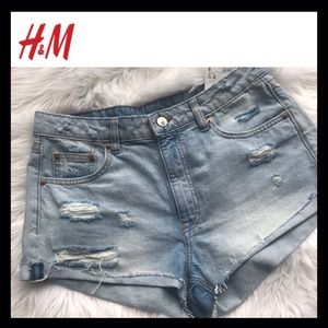 BNWT H&M Destroyed Hi-Rise Denim Shorts
